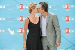 Attore Mark Ruffalo ed alba Coigne della moglie Fotografia Stock
