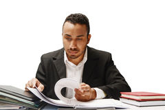 Attorney. Defendant attorney working on cases by going through document royalty free stock photography
