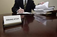 Attorney at Desk with Business Card Stock Photography