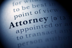 Attorney. Fake Dictionary, Dictionary definition of the word Attorney. including key descriptive words royalty free stock photo