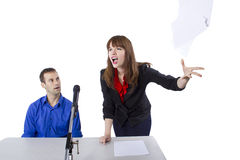 Attorney. Female lawyer representing male client in a court hearing Royalty Free Stock Image