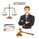 Attorney in glasses near scales, four books and judge gavel Royalty Free Stock Image