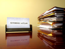 Attorney at Law. Card on desk with files stock photo