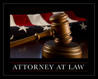 Attorney at Law. A judge's gavel and an American flag. Attorney at law concept image royalty free stock image