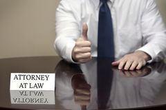 Attorney at Law with Thumb Up Stock Photo