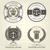 Attorney and lawyer bureau emblems Royalty Free Stock Image