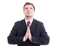 Attorney, lawyer, businessman or accountant praying gesture Royalty Free Stock Images