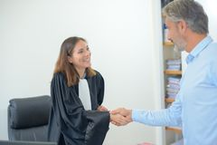 At the attorney`s office stock photography