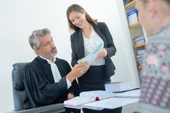 In the attorney`s office. Judge royalty free stock photos