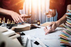 The attorney team is consulting for justice. Royalty Free Stock Images
