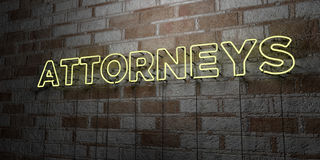ATTORNEYS - Glowing Neon Sign on stonework wall - 3D rendered royalty free stock illustration. Can be used for online banner ads and direct mailers Stock Images
