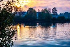 Attracchi il paesaggio del lago fotografia stock libera da diritti