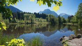 Attracchi lo stagno in allgau vicino ad Oberstdorf Immagini Stock