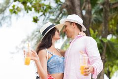 Attracive Couple Kiss Over Sea Landscape Background Young Tourists Man And Woman Lovers On Vacation Stock Photography