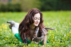Attracrive girl with python Royalty Free Stock Images