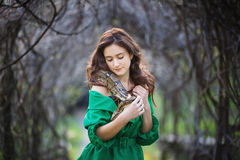 Attracrive girl with snake Stock Photography