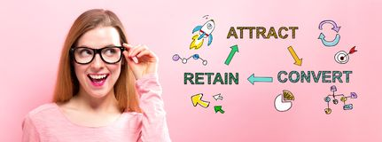 Attract, Convert, Retain with happy young woman. Holding her glasses stock image