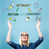 Attract Convert Retain with young woman. Reaching and looking upwards royalty free stock photo