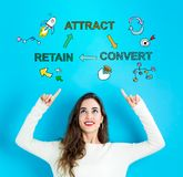 Attract, Convert, Retain with young woman looking upwards. Attract, Convert, Retain with young woman reaching and looking upwards royalty free stock photos