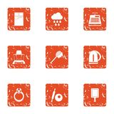 Attract icons set, grunge style. Attract icons set. Grunge set of 9 attract vector icons for web isolated on white background Royalty Free Stock Image