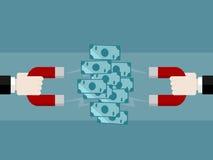 Attract money. Money concept vector illustration . Attract money using magnet Stock Photo
