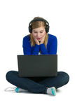 Attractice woman with headphones Stock Image