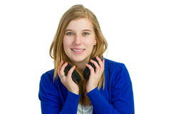 Attractice woman with headphones Stock Images