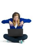 Attractice woman with headphones Royalty Free Stock Image