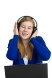 Attractice woman with headphones Stock Photo