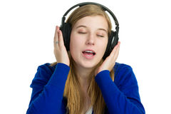 Attractice woman with headphones Stock Photography