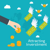 Attracting investments concept. Stock vector Royalty Free Stock Photos