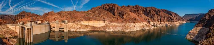 Panoramic View of Hoover Dam, Utah. Royalty Free Stock Images