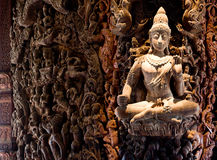 Attracting Pattaya The Santuary of truth Thailand. In Thailand in the city of Pattaya the sanctuary of truth is a wooden construction high of 105 meter covered Stock Images
