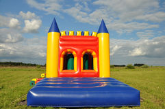 Attraction. Attraction inflatable slides in nature. Summer royalty free stock images