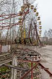 Attraction in amusement park in overgrown ghost city Pripyat. Royalty Free Stock Photos