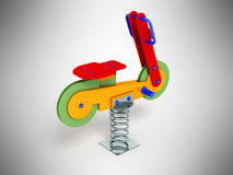 Attraction for children spring motorcycle red 3d render on gray. Background Stock Photos