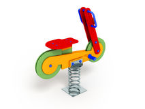 Attraction for children spring motorcycle red 3d render on white. Background Royalty Free Stock Photos