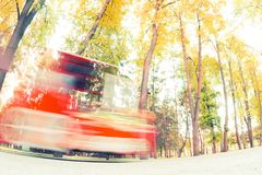 Attraction for childrent. Car or train in the park. blur Royalty Free Stock Photography
