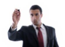 Attraction d'homme d'affaires avec le repère sur l'espace vide de copie photos libres de droits