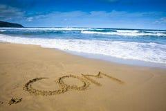 Attraction de compagnie d'Internet sur la plage Photos stock
