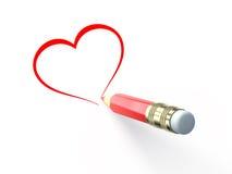 Attraction de crayon le coeur Images libres de droits