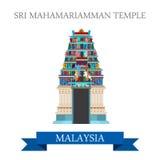 Attraction de la Malaisie de temple hindou de Sri Mahamariamman visitant le pays illustration stock