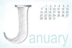 Attraction de main de crayon de janvier de calendrier Photographie stock