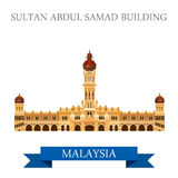 Attraction de Sultan Abdul Samad Building Malaysia visitant le pays illustration de vecteur