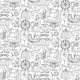 Attraction doodle sseamless pattern Stock Photography