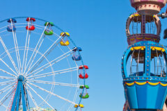 Attraction Ferris wheel. On blue sky background Royalty Free Stock Photos