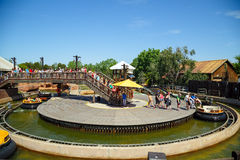 Attraction Grand Canyon Rapids in the theme park Port Aventura in city Salou, Spain. Royalty Free Stock Photography