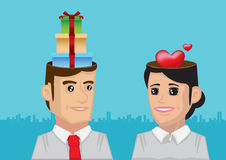 Attraction Happens In the Mind of Man and Woman. Vector illustration of gifts in the head of man and love in the head of woman Stock Photography