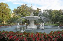 Fountain in Forsyth Park stock image