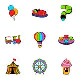 Attraction icons set, cartoon style Stock Image